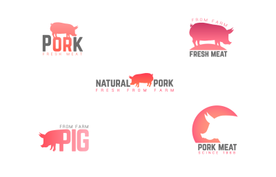 Pig meat logo pack. Pork in different styles