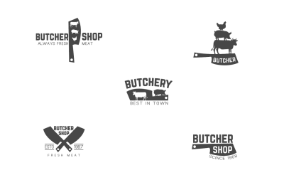 Butcher shop logo pack + bonus