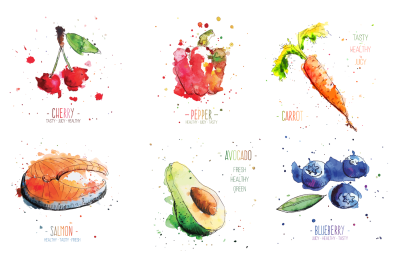 Watercolor food vegetables fruits and fish vector