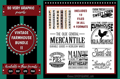Vintage Farmhouse Bundle II | 13 Cutting Files | SVG | EPS | DXF | PNG