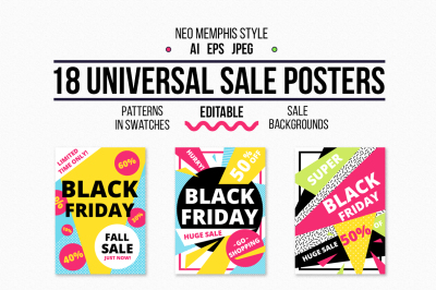 18 universal sale posters + patterns