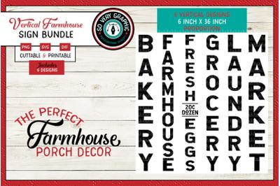 Vertical Farmhouse Bakery Eggs Grocery Laundry Market Sign Bundle SVG
