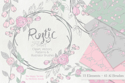 Rustic Floral Clipart, Vectors, Seamless Patterns, Digital Papers, Wreaths, Floral Arrangements, Ai Brushes, Pink Flower Floral Wreaths, Bouquets, Patterns Backgrounds, Brushes