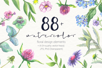 88 warercolor floral set PNG+JPG+AI