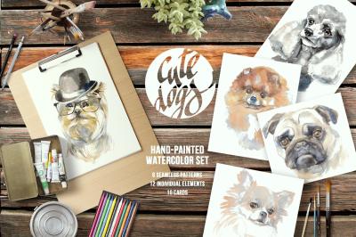 Cute dogs watercolor set