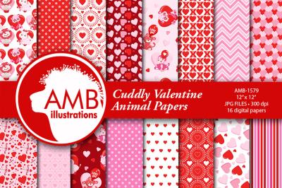 Valentine Patterns, Animal Valentine papers, AMB-1579