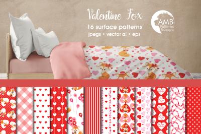 Valentine Patterns, Foxes Valentine papers,AMB-1583