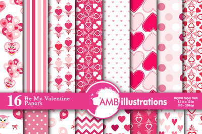 Valentine papers, Heart patterns, Owl Digital Papers, AMB-1166