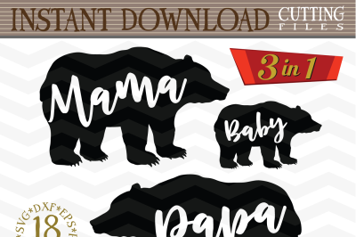 Mama bear Papa bear and Baby bear SVG - Mama svg - Baby svg