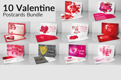 10 Valentines Day Postcard Bundle