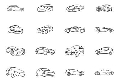 Automobile icon illustration set