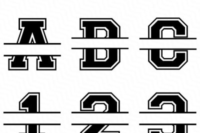 Varsity Split Font Svg, Full Alphabet + Numbers