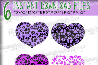 Paw Prints pattern with heart - Paws Print Heart - Paw Print SVG - Paw