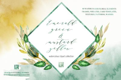 Emerald green & mustard flowers clipart