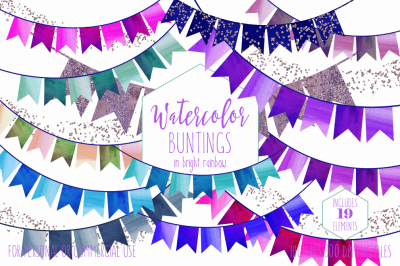 Rainbow Bright Watercolor Bunting Banners Birthday Party Clipart
