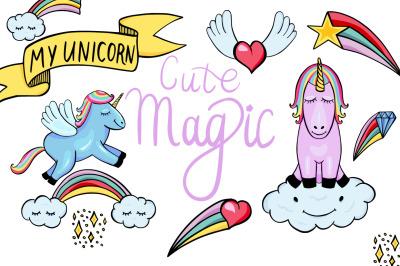 Cute Magic - Unicorns and Pegasus clipart