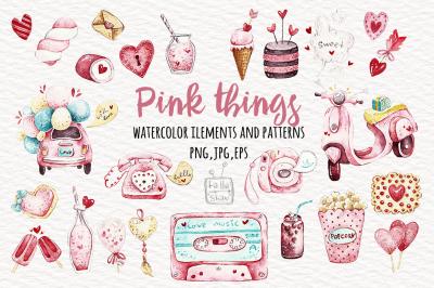 Watercolor pink things