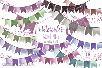 Fun Party Bunting Banners in Rose Pink & Violet Purples
