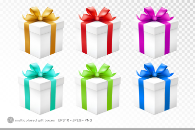 Multicolored gift boxes set