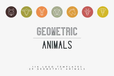 116 Geometric Animal Logo Templates -30%