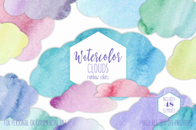 Rainbow Watercolor Cloud Graphic Set