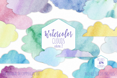 Bright Watercolor Rainbow Cloud Shapes