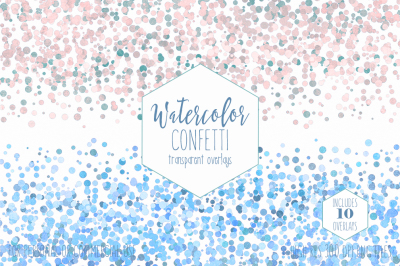Pastel Rainbow Watercolor Confetti Overlays