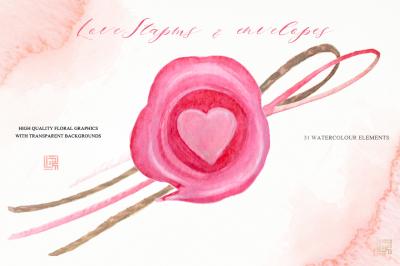 Love stamps, envelopes, hearts, arrows watercolor clipart