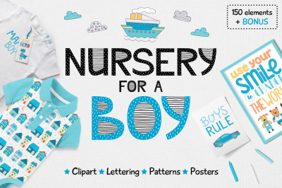 Nursery for a boy - Clipart&Lettering set