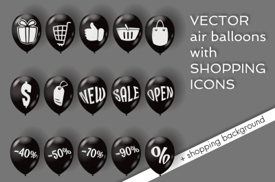 Shopping icons on air balloons.