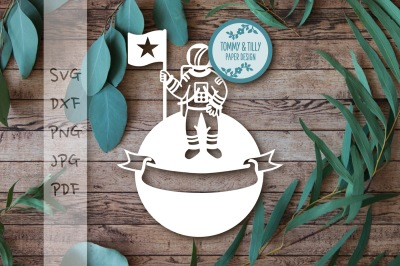 Astronaut on the Moon Cutting File SVG DXF PDF PNG JPG