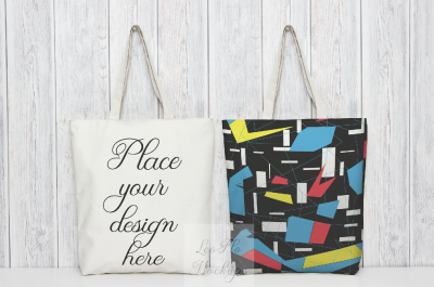 2 Tote bag mockup rustic  background psd smart two totes template