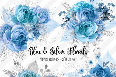 Blue and Silver Floral Clipart