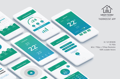 Complete Android UI kit for Thermostat App