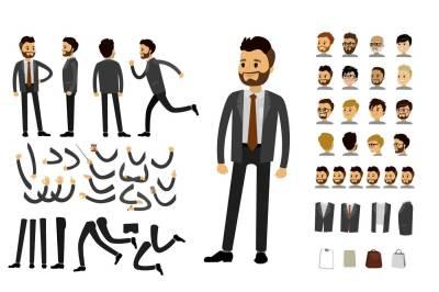 Human constructor.  Caucasian businessman character