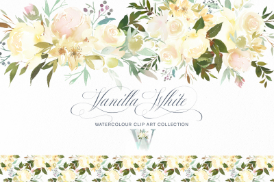 Vanilla White Watercolor Flowers Roses Peonies Greenery Clipart
