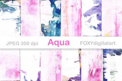 Watercolor Digital Paper Scrapbook Brush Strokes