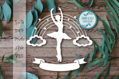 Ballerina Rainbow x 2 Cutting File SVG DXF PNG PDF