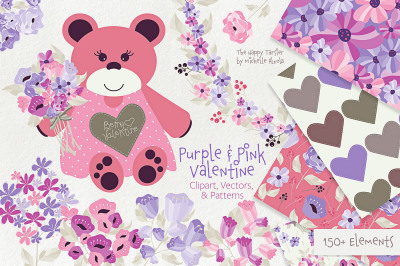 Purple and Pink Valentine -  Floral Clipart, Vectors, Seamless Pattern
