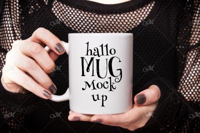 Halloween Mug Mockup. PSD