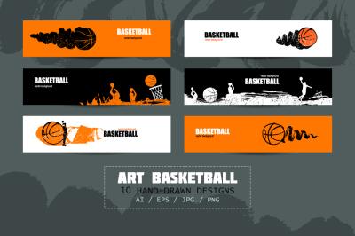 Art basketball/Sport banners/sketch