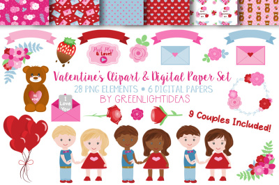 Valentines Clipart and Digital Paper Set
