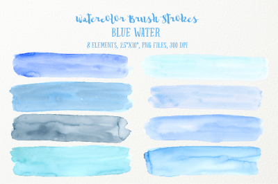 Watercolor Brush Strokes Blue Water