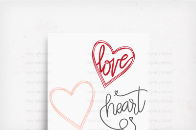 Heart Love Pack Hand Drawn Digital Cutting Files