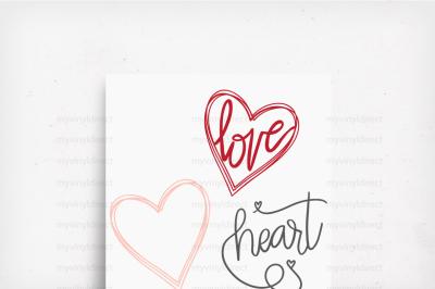 Heart Love Pack Hand Drawn Digital Cutting Files