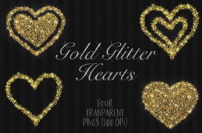 glitter love hearts