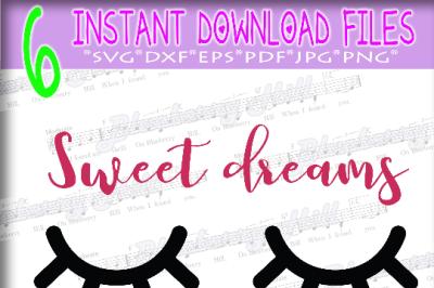 Sleepy Eyes SVG - Sweet Dreams SVG - Sleepy Eyes with eyelashes -  Sle