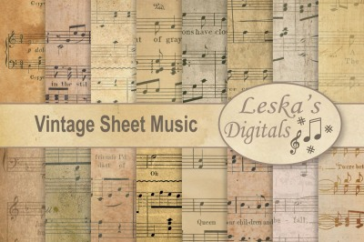 Vintage Sheet Music Digital Paper