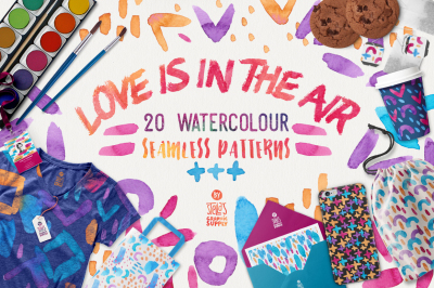 Love Is In The Air - Watercolor Pattern