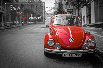 B&W lightroom preset with Red element